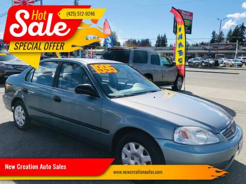1999 Honda Civic for sale at New Creation Auto Sales in Everett WA