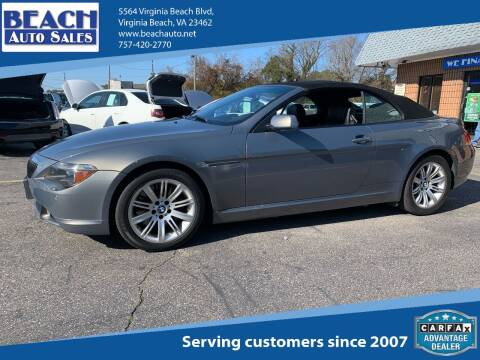 2006 BMW 6 Series for sale at Beach Auto Sales in Virginia Beach VA