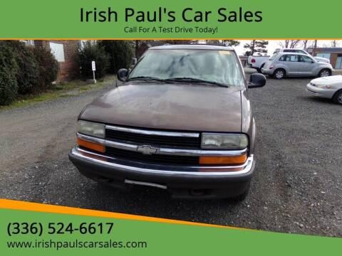 1998 Chevrolet Blazer for sale at Irish Paul's Car Sales in Burlington NC