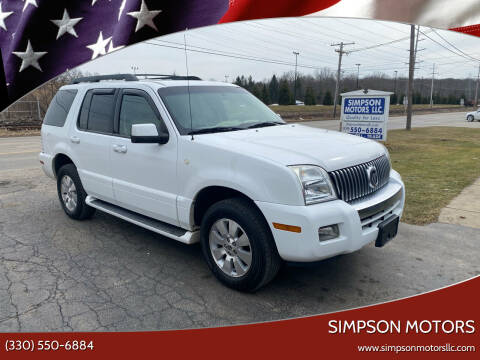 2006 Mercury Mountaineer for sale at SIMPSON MOTORS in Youngstown OH