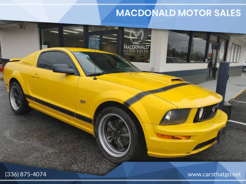 2006 Ford Mustang for sale at MacDonald Motor Sales in High Point NC