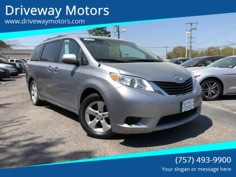 2012 Toyota Sienna for sale at Driveway Motors in Virginia Beach VA