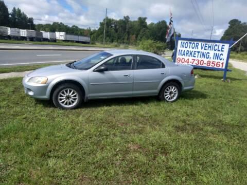 2002 Chrysler Sebring for sale at MOTOR VEHICLE MARKETING INC in Hollister FL