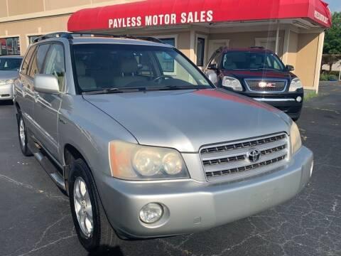 2002 Toyota Highlander for sale at Payless Motor Sales LLC in Burlington NC