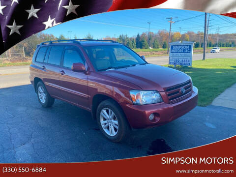 2005 Toyota Highlander for sale at SIMPSON MOTORS in Youngstown OH