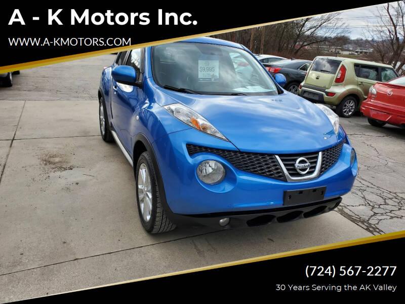 2012 Nissan JUKE for sale at A - K Motors Inc. in Vandergrift PA