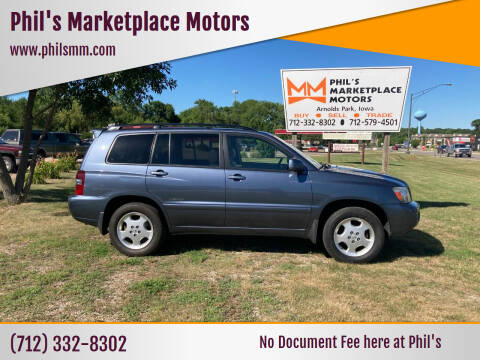 2007 Toyota Highlander for sale at Phil's Marketplace Motors in Arnolds Park IA