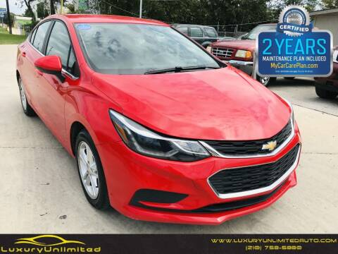 2018 Chevrolet Cruze for sale at LUXURY UNLIMITED AUTO SALES in San Antonio TX