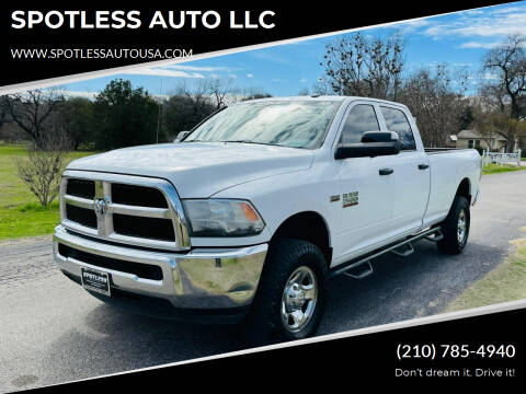 2015 RAM Ram Pickup 2500 for sale at SPOTLESS AUTO LLC in San Antonio TX