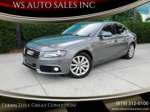 2012 Audi A4 for sale at WS AUTO SALES INC in El Cajon CA