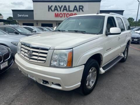 2003 Cadillac Escalade for sale at KAYALAR MOTORS in Houston TX
