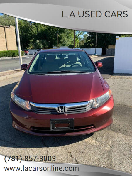 2012 Honda Civic for sale at L A Used Cars in Abington MA