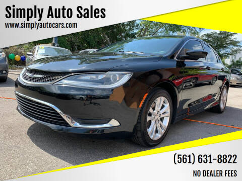 2015 Chrysler 200 for sale at Simply Auto Sales in Palm Beach Gardens FL