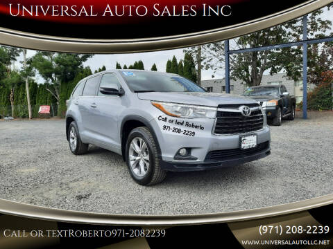 2015 Toyota Highlander for sale at Universal Auto Sales Inc in Salem OR