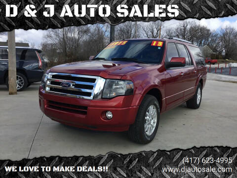 2013 Ford Expedition EL for sale at D & J AUTO SALES in Joplin MO