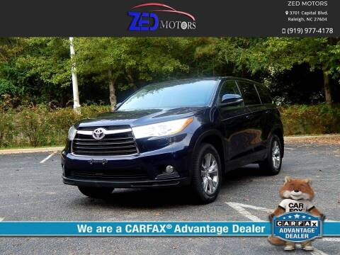 2014 Toyota Highlander for sale at Zed Motors in Raleigh NC
