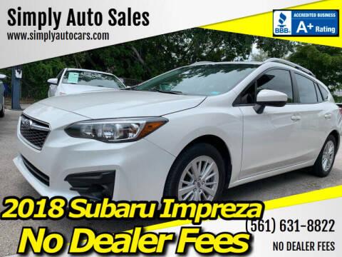 2018 Subaru Impreza for sale at Simply Auto Sales in Palm Beach Gardens FL