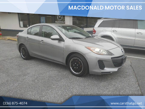 2012 Mazda MAZDA3 for sale at MacDonald Motor Sales in High Point NC