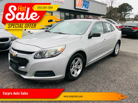 2014 Chevrolet Malibu for sale at Carpro Auto Sales in Chesapeake VA