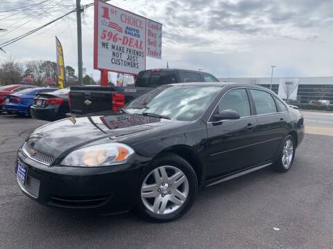 2012 Chevrolet Impala for sale at 1st Choice Auto Sales in Newport News VA