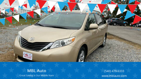 2011 Toyota Sienna for sale at MBL Auto in Fredericksburg VA