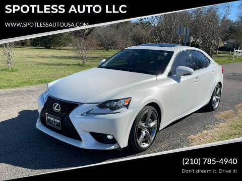 2015 Lexus IS 350 for sale at SPOTLESS AUTO LLC in San Antonio TX