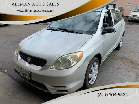 2004 Toyota Matrix for sale at ALLMAN AUTO SALES in San Diego CA