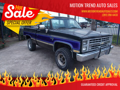 1986 Chevrolet C/K 10 Series for sale at MOTION TREND AUTO SALES in Tomball TX