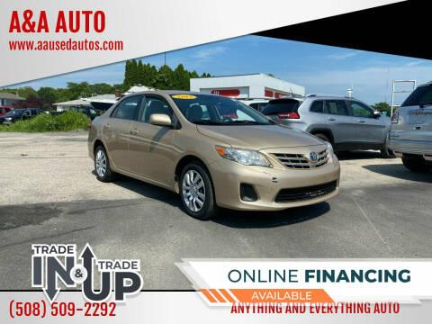 2013 Toyota Corolla for sale at A&A AUTO in Fairhaven MA