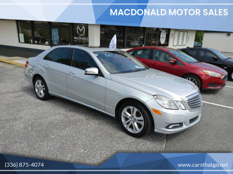 2010 Mercedes-Benz E-Class for sale at MacDonald Motor Sales in High Point NC