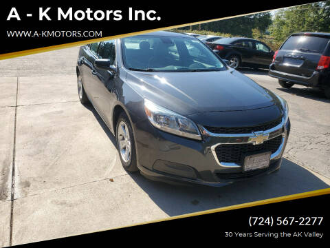 2015 Chevrolet Malibu for sale at A - K Motors Inc. in Vandergrift PA