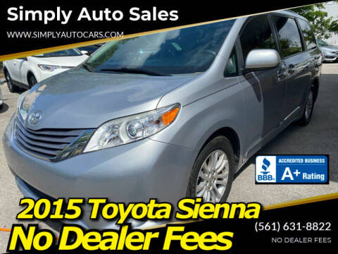2015 Toyota Sienna for sale at Simply Auto Sales in Palm Beach Gardens FL