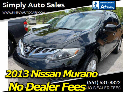 2013 Nissan Murano for sale at Simply Auto Sales in Palm Beach Gardens FL