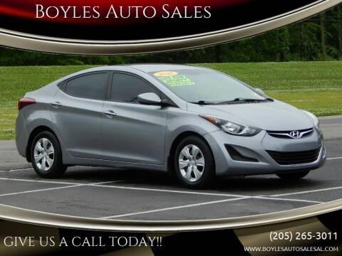 2016 Hyundai Elantra for sale at Boyles Auto Sales in Jasper AL