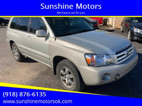 2005 Toyota Highlander for sale at Sunshine Motors in Bartlesville OK