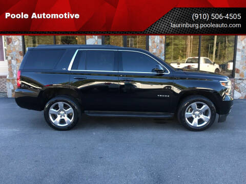 2015 Chevrolet Tahoe for sale at Poole Automotive in Laurinburg NC