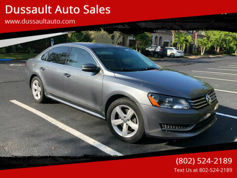 2014 Volkswagen Passat for sale at Dussault Auto Sales in Saint Albans VT