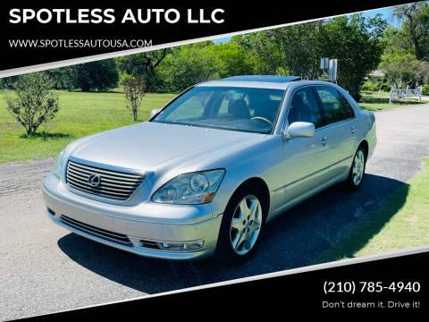 2004 Lexus LS 430 for sale at SPOTLESS AUTO LLC in San Antonio TX