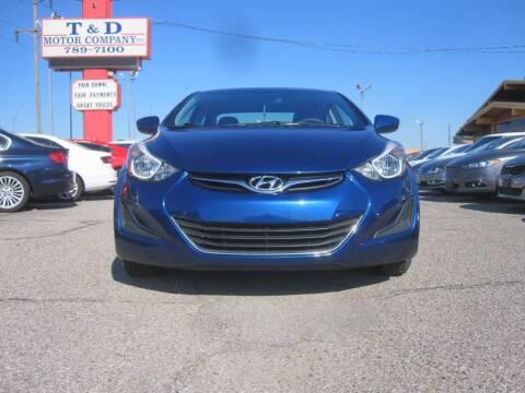 2016 Hyundai Elantra for sale at T & D Motor Company in Bethany OK