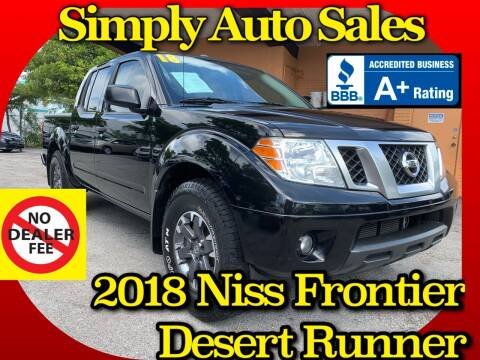 2018 Nissan Frontier for sale at Simply Auto Sales in Palm Beach Gardens FL