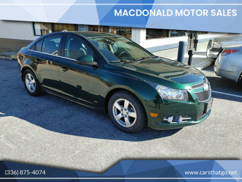 2014 Chevrolet Cruze for sale at MacDonald Motor Sales in High Point NC