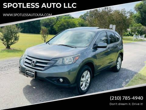 2012 Honda CR-V for sale at SPOTLESS AUTO LLC in San Antonio TX