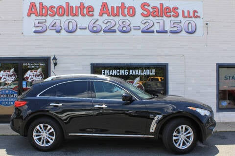 2015 Infiniti QX70 for sale at Absolute Auto Sales in Fredericksburg VA