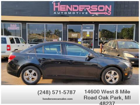 2013 Chevrolet Cruze for sale at Henderson Automotive, LLC in Oak Park MI