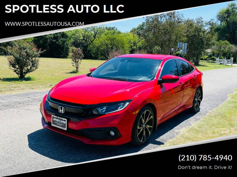 2019 Honda Civic for sale at SPOTLESS AUTO LLC in San Antonio TX