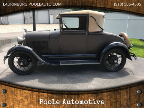 1929 Ford Model A for sale at Poole Automotive in Laurinburg NC