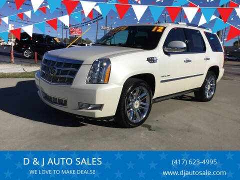 2012 Cadillac Escalade for sale at D & J AUTO SALES in Joplin MO