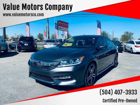 2017 Honda Accord for sale at Value Motors Company in Marrero LA
