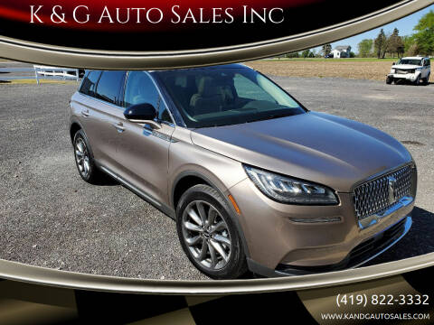 2020 Lincoln Corsair for sale at K & G Auto Sales Inc in Delta OH