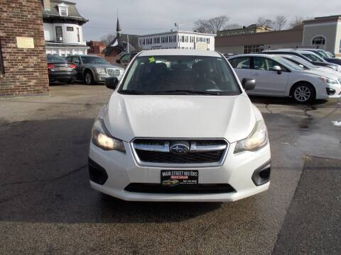 2014 Subaru Impreza for sale at MAIN STREET MOTORS in Worcester MA